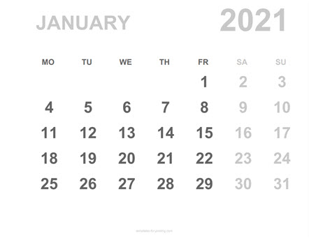 Monthly Calendar for Printing
