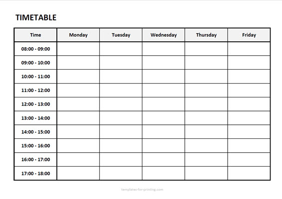 timetable from monday to friday with time Version 2