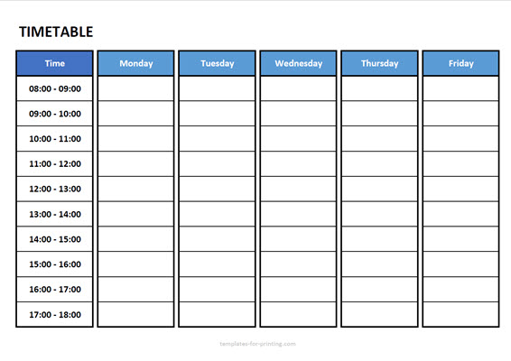 timetable from monday to friday with time Version 3 blue