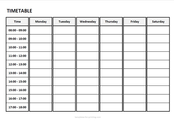 timetable from monday to saturday with time Version 3