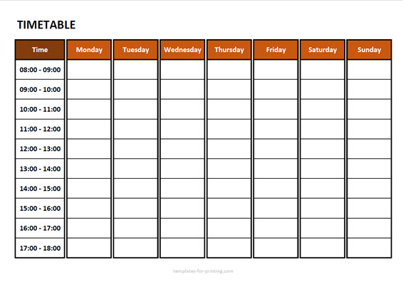timetable from monday to sunday with time Version 3 red