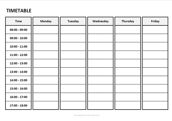 timetable from monday to friday with time Version 3