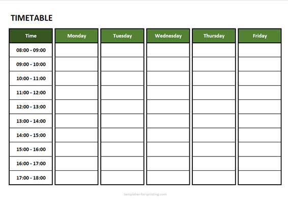 timetable from monday to friday with time Version 3 green