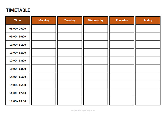 timetable from monday to friday with time Version 3 red