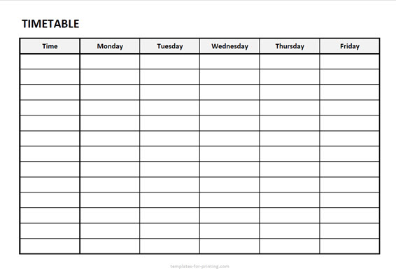 timetable from monday to friday with timefield