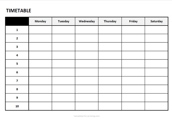 timetable from monday to saturday with numbers