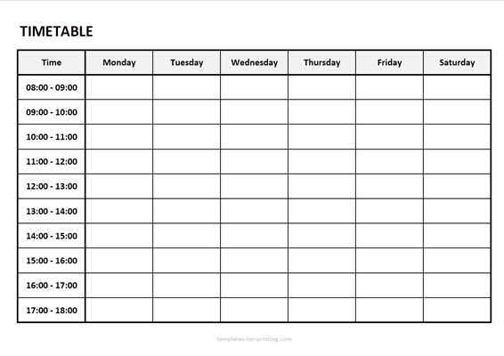 timetable from monday to saturday with time Version 2