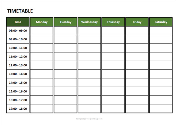 timetable from monday to saturday with time Version 3 green