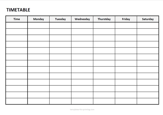 timetable from monday to saturday with timefield