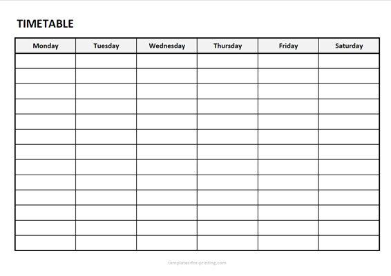 timetable from monday to saturday without timefield