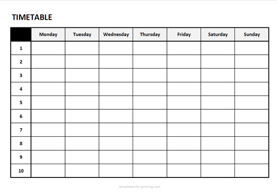 timetable from monday to sunday with numbers