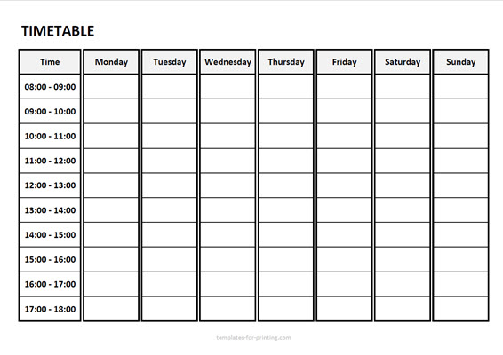 timetable from monday to sunday with time Version 3