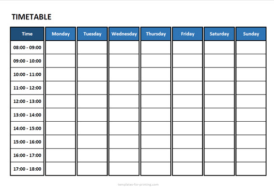 timetable from monday to sunday with time Version 3 blue