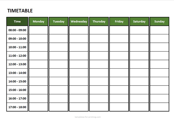 timetable from monday to sunday with time Version 3 green