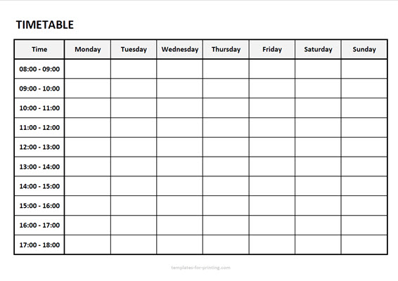 timetable from monday to sunday with time