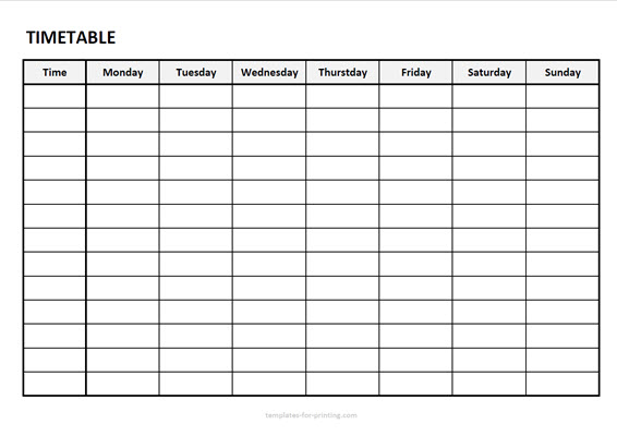 timetable from monday to sunday with timefield