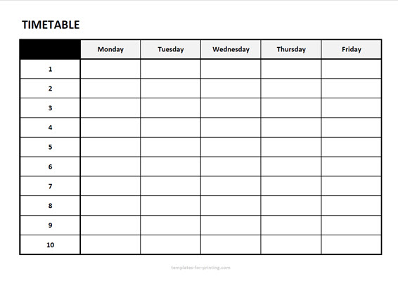 timetable from monday with friday with numbers