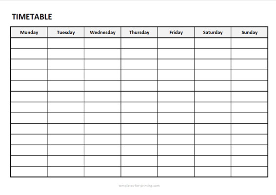 timetable from mondy to sunday without timefield