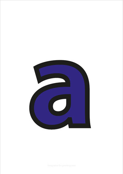 a lower case letter blue with black contours
