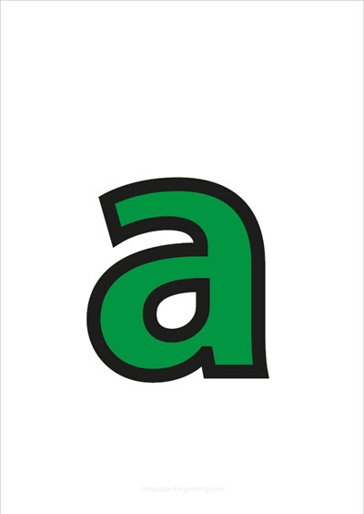 a lower case letter green with black contours