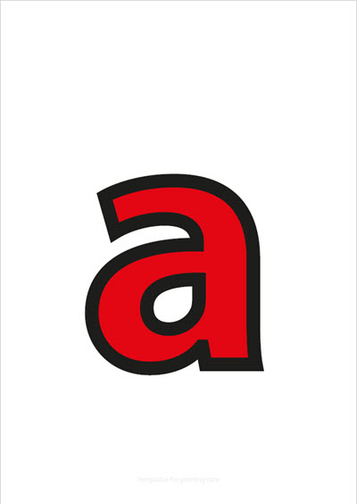a lower case letter red with black contours