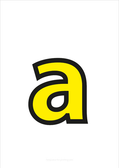 a lower case letter yellow with black contours
