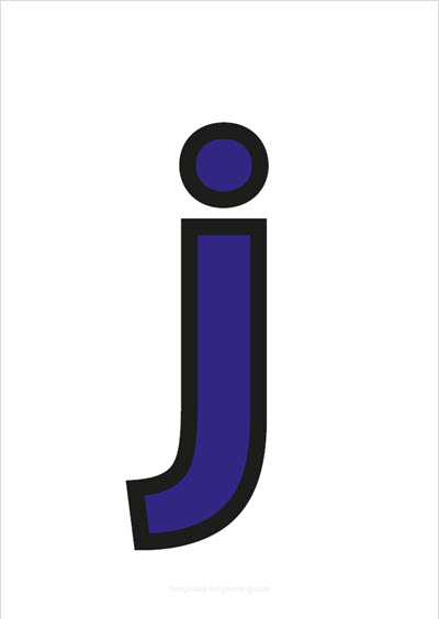 j lower case letter blue with black contours