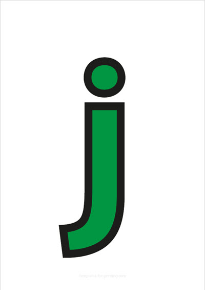 j lower case letter green with black contours