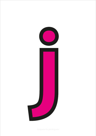 j lower case letter pink with black contours