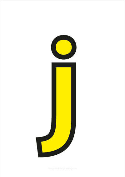 j lower case letter yellow with black contours