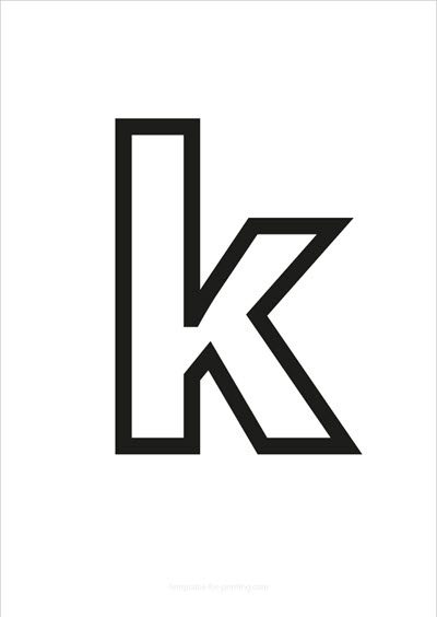 k lower case letter black only contour