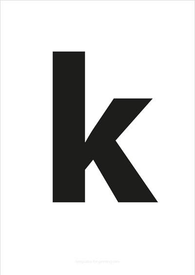 k lower case letter black