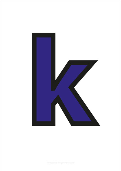k lower case letter blue with black contours