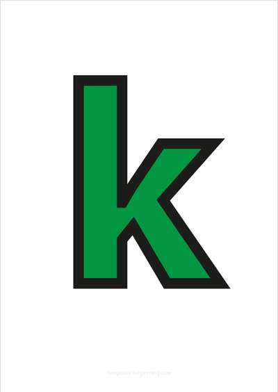 k lower case letter green with black contours