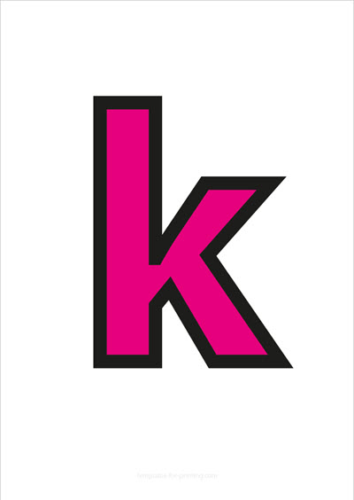 k lower case letter pink with black contours
