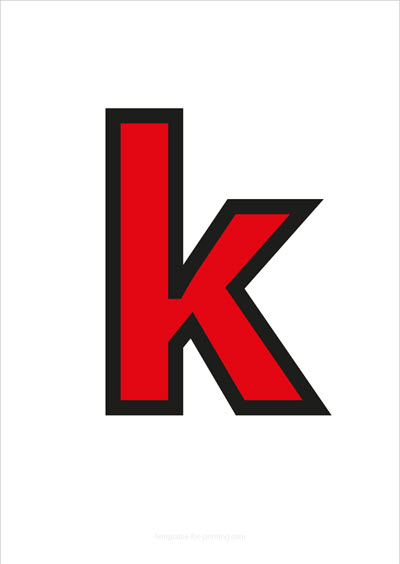 k lower case letter red with black contours