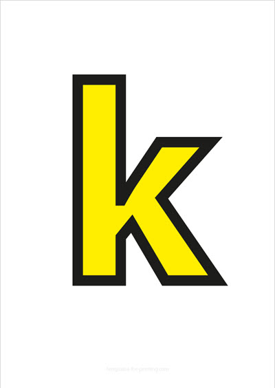 k lower case letter yellow with black contours