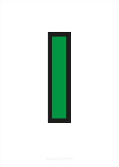 l lower case letter green with black contours