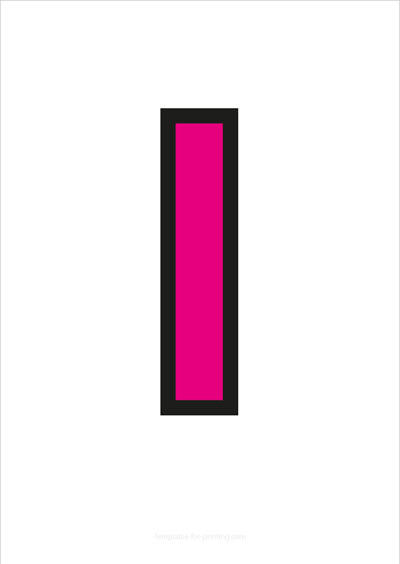 l lower case letter pink with black contours