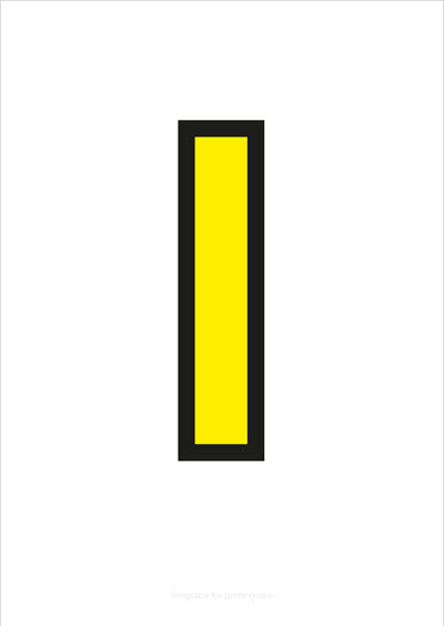 l lower case letter yellow with black contours