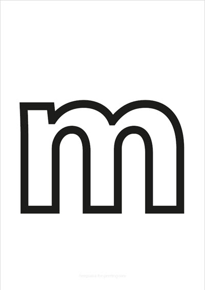m lower case letter black only contour