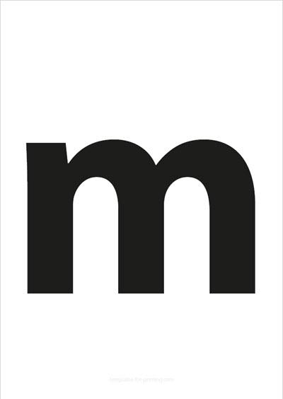 m lower case letter black