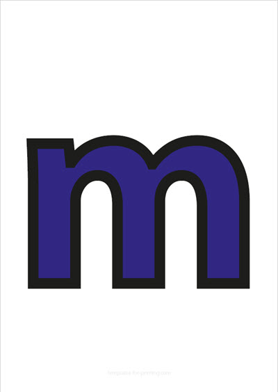 m lower case letter blue with black contours