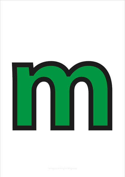 m lower case letter green with black contours