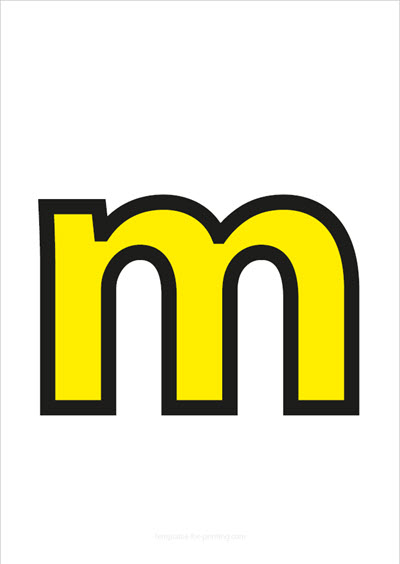 m lower case letter yellow with black contours