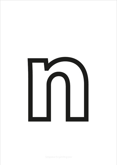 n lower case letter black only contour
