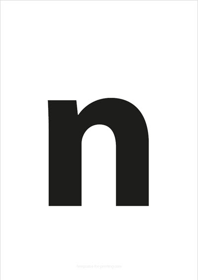 n lower case letter black