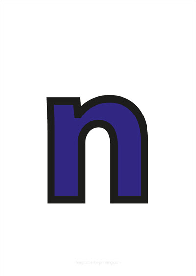 n lower case letter blue with black contours