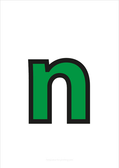 n lower case letter green with black contours