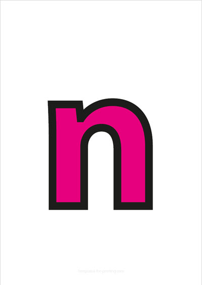 n lower case letter pink with black contours